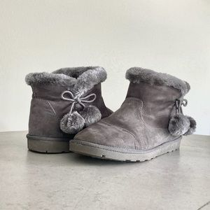 Arizona Jeans Co. Grey Ankle Boots with pompom-bow